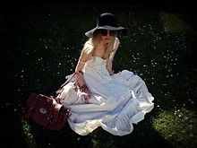 Josephine M. - Floppy Hat, Ebay Round Sunglasses, Black Pyramid Crochet Lace Maxi Dress, Mulberry Alexa, Rings - Get some