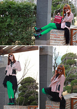 Sunhwa Hwang. Muse S - 82code Leather Mix Rider Jacket, Accessorize Vivid Flower Sun Glasses - More springly