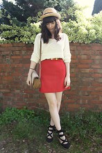 Sarah B - Red Skirt, White Cable Jumper, Espadrilles - Red & Sunshine