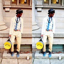 Sidney Richardson - H&M Khaki Pants, Louis Vuitton Key Holder, Fred Perry Bag, Brixton Hat, Bdg Tie, Divided Cardigan, American Apparel Oxford Shirt, Undefined Belt, Docksides Boots - He ain't no hometown hero,