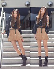 Aimee Song - Surface To Air Lace Up Wedges, H&M Suede Skirt, Zara Kimono Top - Daylight on Me