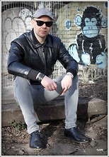 Ivan Johannes - Leather Jacket, Riccardo Cortillone Black Leather Toe Caps, Cheap Monday Jeans, Ray Ban Way Farer, H&M Hat - Apeman