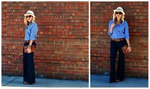Taylor Sterling - Gap Wide Leg Jeans, Vintage Tan Clutch, Abercrombie And Fitch Tan Belt, H&M Chambray Shirt, Urban Outfitters Fedora Hat - Baby Blues
