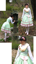 Tyler H - Antiques Store Pressed Flowers Pin, My Own Work Glass Pearl Chocker, Main Street Antiques Mink Stole, Micheals Pink Roses, My Own Work Rose Embroidered Organza Jsk, Forever 21 White Ruffle Blouse, My Own Work Pink Chiffon Sash, My Own Work Pink Chiffon Underskirt, Innocent World Bunny Sock, E Bay Pink Bow Shoes - Spring Blossoming
