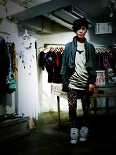 Vincent Hsu - Odeur Jacket, Acne Studios Top, Yoshi Necklace, Playme Pants, Jeremy Scott Sneakers - Leopard Print