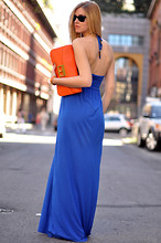 Chiara Ferragni - Primark Dress, Marc By Jacobs Clutch - Electric blue and orange-The Blonde Salad