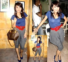 Elle Paulino - Mango Blue Shirt, Guess? Red Belt, 101 New York Grey, Louis Vuitton Brown Lv Bag, Blue Pumps, Forever 21 Chandelier Earrings - BIRTHDAY  GIRL. <3