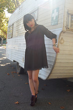 SHERYL MILK - La Villa Leopard Collared Peter Pan Dress, Aldo Leather Clogs - Caravan