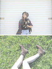 Mariah Nicole - Priceless Cute Little Weiner Dog Mix, Forever 21 Lace Up Ankle Boots, White Tights, Thrifted Jean Cutoffs, Thrifted Rainbow Plaid Shirt, Khols Solid Black Tee, Thrifted Black Beret - Only The Young