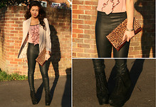 Nadine B - Topshop Clutch Bag, Topshop Leather Trousers, Primark Ruffle Top - Ruffle it up