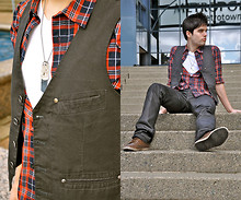Joffery Hollsworth - H&M Vest, H&M Plaid Shirt, Esprit V Neck Shirt, Guess? Jeans, Zara Leather Shoes - Love is free