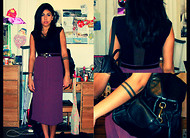 LYMARI HERNANDEZ - American Apparel Gloria V Bodysuit, Salvation Army Long Purple Skirt, Salvation Army Leather Backpack, Thrift Patent Leather Belt - April 14th, 2011