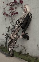 Marie Hamm - Bb Dakota Leather Jacket, Shareen Vintage Floral Maxi, Kelsey Dagger Lace Up Booties - Floral Land.