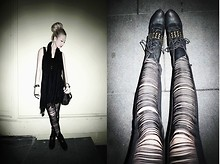 Nichole Nichole - Chanel Cc Logo Earrings, Forever 21 Triple Finger Ring, Korea Studded Boots - Fade To Black