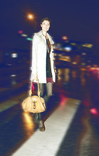 Liz Vranesh - Trench Coat, Black Tunic Dress, Red Slip, Grey Boot Shoes, Chloé Chloe Bag, Garage Sale Necklace - Rainy night