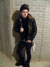 Johnny Cook dooley - H&M Black Pants, Urban Outfitters Bomber Jacket, Black Sweater, Gi Style Combat Boots - Magneto
