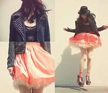 Shan Shan - American Apparel Bodysuit, American Apparel Skirt, Jeffert Campbell Shoes - Studs, lace, pink