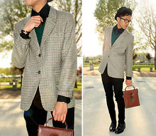 Jerome Centeno - Vintage Checked Blazer, Vintage Polka Dot Tie, Tacchini Brownish Bag - Chocolate Mint