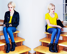 My Blomquist - H&M Top, Gina Tricot Jeans, Dinsko Shoes - Hello yellow
