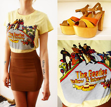Sara Lissandrini - The Beatles, Jeffrey Campbell San Diego Platform, H&M Brown Skirt - We all live in a yellow submarine!