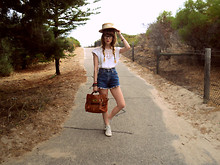 Claire Mcmanus - Tempt Satchel, Next High Tops, Denim Cut Off's, Thrifted Top - Oh! Darling