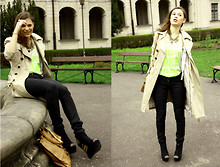 Maria Bros - Zara Coat, H&M Skinny Trousers, Deezee Wedges, New Yorker Neon Top, Accessorize Necklace, Bagatt Bag - WARSAW FOUNTAIN // mariabros blogspot