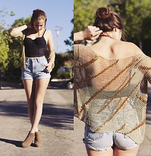 Bethany Struble - Vera Wang Corset, Levi's® Vintage Levis Denim Shorts, Vintage Beaded Cardigan, Tan Wedges - I'll Follow The Sun- The Beatles