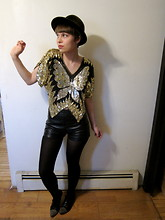Celeste Cerro - Hunter Vintage Green Velvet Fedora, Vintage Sequined Butterfly Top, Forever 21 Pleather Shorts, American Apparel Black Tights, Dolce Vita Gold Studded Brogues - Buy this sequined butterfly top!