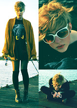 Josefine B - Second Hand Suede Jacket, Second Hand Golden Elephant In Space, Gigantic T Shirt, Gina Tricot Glittery Black Tights, Diy Black Over Knee Socks, Åhléns Black Boots, My Great Grandmother (80's) White Sunglasses - The Difference Between Truth and Lies