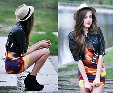Kasia Szymków - Motel Rocks Dress, Dr. Martens Jacket, C&A Hat - COSMIC DRESS
