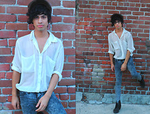 Sid Curtis - American Apparel Chiffon Oversized Button Up, Jil Sander Acid Wash Jeans - Harder Than The A-List