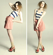 L M - H&M Striped Vest Dress, Topshop Suede Shorts, River Island Gold Socks, Kurt Geiger Shoes! - I HAVE SO MANY ANCHORS