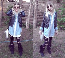 Fanny † Dead Can Wear - Custom Leggins, Bershka Boots, Ebay Jean Shirt, Miss Selfridge Leather Jacket - Beautiful day