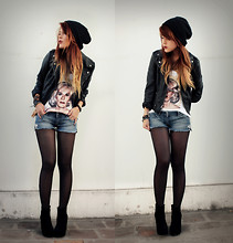 Lua P - Forever 21 Leather Jacket, Vintage Shorts, Transfer By Me Andy Warhol Tee, Vjstyle Wedges - Give me a sense of purpose