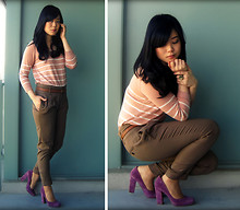 Kristania Petra - H&M Stripped Sweater, Zara Tapered Pants, Nine West Suede Pumps - I'm Dancing With Myself
