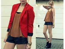 Tanya M. - H&M Red Blazer, Topshop Top, H&M Leather Shorts, H&M Bracelets, Jeffrey Campbell Leather Wedges - Red and Leather