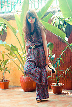 Katrina C. - Thrifted Vintage Sunnies, Aldo Black Beaded Necklace, Cocobelle Jumpsuit, Thrifted Belt, Janylin Wedges - Same DNA, but born this way.