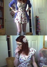 Sarah Fitzgerald - Cardi, Playsuit, New Look Knee Highs, Flower, Primark Beaded Bracelets - Saucer Of Milk, Table For Two.