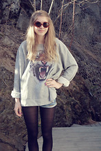 Linda Marie B - Vintage, Weekday Sweater, Zara Shorts - Funny old sunglasses