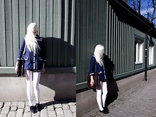 Annie Balfors - H&M Jacket, American Apparel Tights, Urban Outfitters Sailor Playsuit, Beyond Retro Bag, Åhlens Shoes - I heard your name in a book, saw your face in a map.
