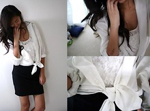 Amy P. - Lace Top, Towncraft White Button Down, Cotton On Black Pencil Skirt - In Loving Memory, R.I.P. ARA ♥