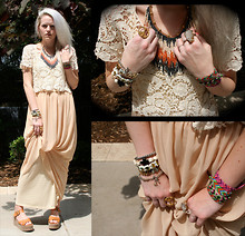Margaret Shaw - Ylang23 Crystal Ring, Urban Outfitters Suede Flatforms, Forever Xi Lace Crop, Kimchi Blue Maxi Dress, Free People Beaded Fringe Collar, Konstantino Cross Bracelet, Self Made Skull And Cross Bracelet, Love Triangle Ring - Whiter Shade of Pale