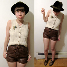 Celeste Cerro - Hunter Vintage Green Velvet Fedora, Vintage Brooches, Vintage Cable Knit Sweater Vest, H&M Lace Up Leather Shorts, Thrifted Forever Ago Two Tone Shoes - Bittersweet Antiques: Sweater Vest for Sale!