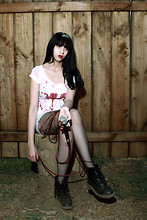 Sally Roussó - Make By Roussó Bloody Blouse, Vintage Hot Shorts, Net Pantyhose, Dr. Martens Boots Dr - A Forest