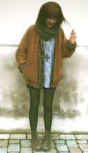 Johanna Kronholm - Pandora Ten Point Brown Leather Ankle Boots, Second Hand Suede Jacket, Second Hand Knitted Cardigan, Second Hand Patterned T Shirt, Bikbok Knitted Scarf, Lindex Necklace Cross, H&M Tights - LET´S JUST LAUGH ABOUT IT