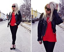 My Blomquist - Secondhand Top, Secondhand Leather Jacket, Secondhand Heels, Juveliasmycken.Se Necklace, Indiska Glasses - Black and red
