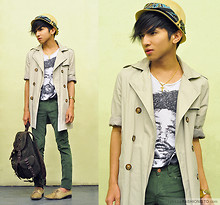 Mc kenneth Licon - Roomates Diy Hat, Zara Self Altered Trench Coat, Zara Velvet Cord Trousers, Zara Leather Backpack - Green Pants