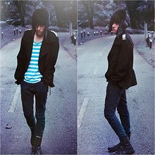 TAto Prado - Monster Aviator Hat, Blue Striped Shirt, Vintage Studded Coat, Skinny Jeans, Zara Combat Boots - Lost in love and desire, never again!