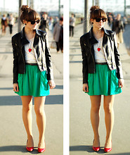 Maddy C - Romwe Jacket, Zara Skirt, H&M Top - Green.