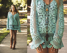 Slamma Jamma - Vintage Shop Crochet Dress, The Frye Company Boots - Blue Crochet&SummerTrails